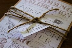 Rustic Vintage Chic Wedding Invitation with Kraft Backer, Twine and Tag on Etsy, $2.10 Would be great for FALL!!
