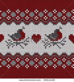 knitted seamless pattern bullfinches