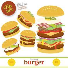 Burger Clip Art Food Clipart Hamburger par EclairdeLune1 sur Etsy