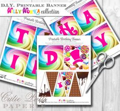 This item is unavailable Roald Dahl Day, Printable Birthday Banner, Willy Wonka, Candy Party, Party Printables, Happy Birthday, Paper, Handmade Gifts, Diy