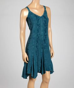 Another great find on #zulily! Teal Embroidered V-Neck Dress #zulilyfinds