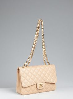 "This is an always obsession.. Chanel Buttermilk Quilted Leather ""Classic"" Shoulder Bag"