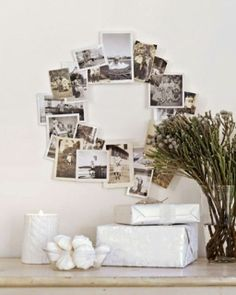Photo Wreath; could be fun- one for bride, one for groom