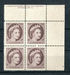 Canada #337v 1c Violet Brown Wilding Issue. Plate 12 UR DF Ivory VF-80 NH in Stamps, Canada, Mint | eBay