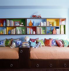 Organizing Kids' Spaces ...nice way to fit twin beds in a narrow room...