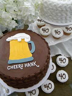 Beer mug cake for a 40th surprise party ~ My Sweet Things