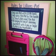 Personalized Child's ipad station with rules :)
