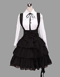 Outfits+Classic/Traditional+Lolita+Vintage+Inspired+Cosplay+Lolita+Dress+White+/+Black+Vintage+Long+Sleeve+Shirt+Knee-length+Blouse/Dress/Cravat+–+USD+$+99.99