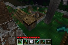 My Minecraft PE survival village, with deep mine and big storage room.