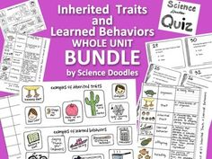 Inherited Traits & Learned Behaviors BUNDLE by Science Doodles Science Lessons, Science Activities, Life Science, Science Doodles, Science Classroom, Classroom Ideas, 7th Grade Science, Teacher Resources, Teaching Ideas