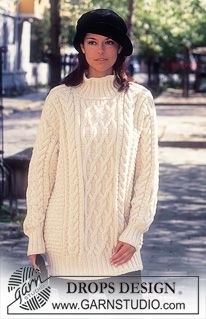 DROPS 58-6 - DROPS Sweater in Karisma Superwash and Cotton Viscose. Long or short model. - Free pattern by DROPS Design