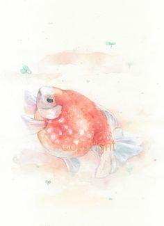 fish, chinese, fish print, pearl scale goldfish, watercolor, original painting, watercolor wall art print, Goldfish--watercolor print https://www.etsy.com/listing/121388105/fish-chinese-fish-print-pearl-scale