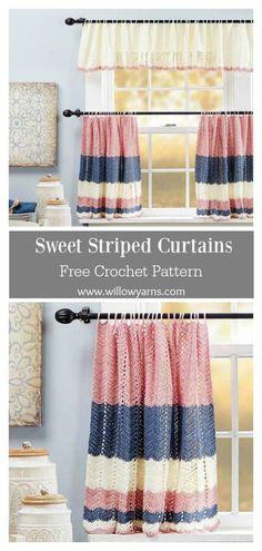 Crochet Curtain Pattern, Crochet Curtains, Curtain Patterns, Crochet Patterns, Crochet Kitchen, Crochet Home, Crochet Geek, Chair Design, Wall Design
