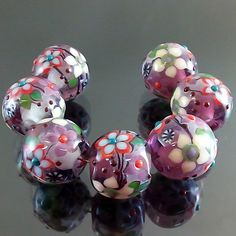PIKALDA=handmade lampwork 7 glass beads flower blossom garden=FASCINATION 2=SRA