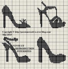 0 point de croix monochrome collection chaussures - cross stitch black shoes