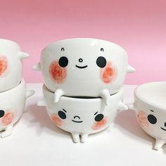 Cute Handmade Ceramics from Myostery - Super Cute Kawaii! - Cute Handmade Ceramics from Myostery - Ceramic Clay, Porcelain Ceramics, Ceramic Bowls, Ceramic Pottery, Porcelain Skin, Ceramic Planters, Fine Porcelain, Ceramics Projects, Clay Projects