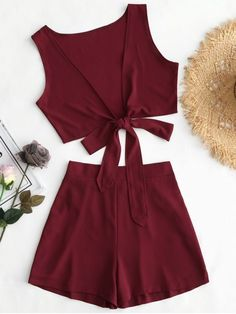 Shop for Tied Front Crop Top and Shorts Set WINE RED: Two-Piece Outfits S at ZAFUL. Only $16.49 and free shipping!