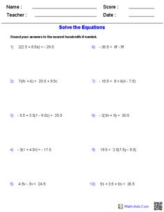These Algebra 2 generators allow you to produce unlimited numbers of dynamically created equations and inequalities worksheets. 6th Grade Worksheets, Free Printable Math Worksheets, Free Math Worksheets, Probability Worksheets, Solving Linear Equations, Algebra Equations, Maths Algebra, Simplifying Algebraic Expressions, Math Expressions