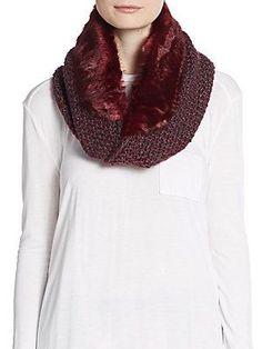Saks Fifth Avenue Faux Fur & Marled-Knit Infinity Scarf - Olden Velvet