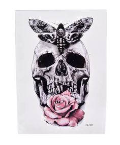 Totenkopf Schädel Rose Blume Bunt Schmetterling Temporary Temporäre Einmal Tattoo von OneWeekTattoos auf Etsy The Effective Pictures We Offer You About meaningful Tattoo A quality pict Irezumi Tattoos, Marquesan Tattoos, Maori Tattoos, Skull Tattoos, Tribal Tattoos, Spine Tattoos, Mens Tattoos, Turtle Tattoos, Borneo Tattoos