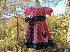 Peasant Minnie Mouse Dress Peasant Dress by madebygrannyshands