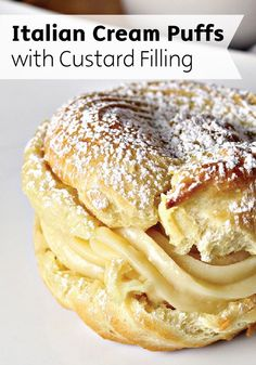 Italian Cream Puffs | This classic Italian dessert recipe is filled with a creamy custard filling and topped with sweet powdered sugar.