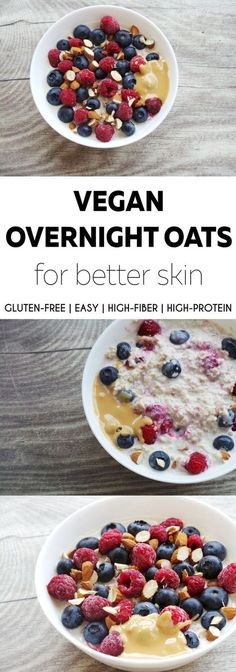 Vegan overnight oats by Beauty Bites: a very tasty easy, quick and healthy breakfast recipe you can make the night before. It's gluten-free if you use gluten-free oats, antioxidant-rich, high-fiber and high-protein, heart-healthy and also good for your sk