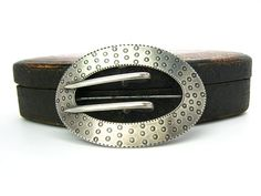 Victorian Sterling Silver Brooch Antique Arts and Crafts Era Large Sash Buckle Geometric Engraved Oval Vintage 1900s Signed American Jewelry