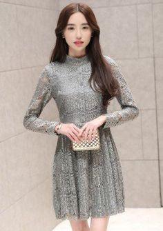 Buy Turtle Neck Lace Mesh Fit & Flare Dress | mysallyfashion.com Malaysia