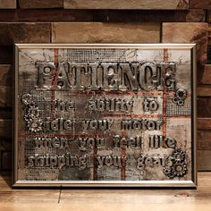 Patience  Industrial Style Wall Sign with by MegAndMosClubhouse
