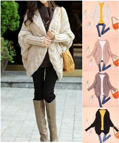 New Arrival. Korean Style Women's Bat wing Cable Knit Cardigan.