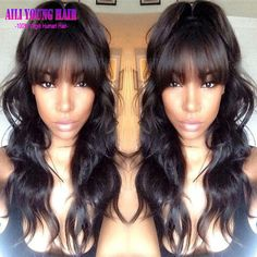 123.00$  Buy now - http://ali482.worldwells.pw/go.php?t=32778086340 - 7A Full Lace Human Hair Wigs With Bangs Malaysian Virgin Hair Full Fringe Wig Human Hair Glueless Lace Front Wig For Black Women