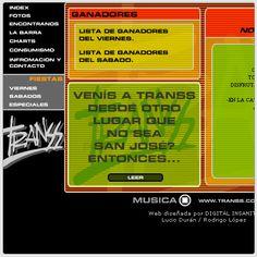 Sitio Web diseñado por DIMS para la discoteca TRANSS en el año 2000.