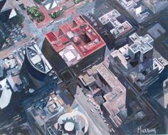 Murray original aerial painting downtown los angeles olive hope st california Aerial Arts, Downtown Los Angeles, Impressionism, Art For Sale, California, The Originals, Photos, Travel, Painting