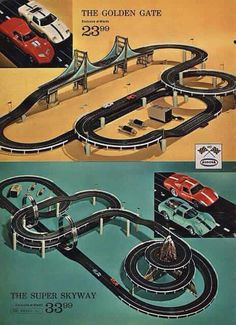 1968 montgomery ward christmas catalog page - aurora ho scale slot car racing / raceway / motorway road race with speed throttles, track sections, Ho Slot Cars, Slot Car Racing, Slot Car Tracks, Cars 1, Race Cars, Cheap Sports Cars, Montgomery Ward, Christmas Catalogs, Retro Toys