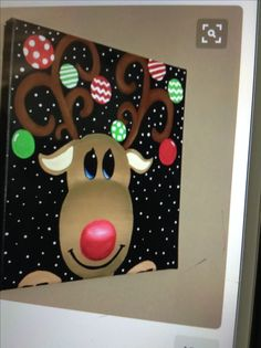 Reindeer christmas canvas decor by craftsbydaniellelee on Etsy Simple Christmas, Christmas Art, Christmas Projects, Christmas Decorations, Reindeer Christmas, Reindeer Decorations, Christmas Ideas, Holiday Crafts, Holiday Fun