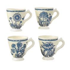 ANDREA BY SADEK Set of 4 Asst Jardin Blue Porcelain Coffee Mugs