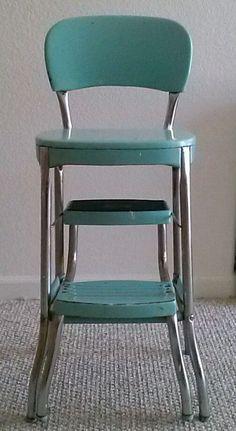 Vintage Aqua Cosco Chair Step Stool Mid Century Retro Kitchen Rockabilly