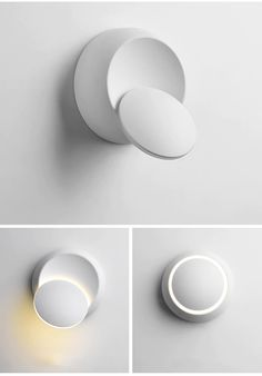 Modern Rotating Wall Light : This adjustable round wall light has 360 degree rotation so the light points where you need it. The sleek, modern design adds the finishing touch to any modern living room or bedroom. Stair Wall Lights, Black Wall Lights, Led Wall Lamp, Bedside Lighting, Living Room Lighting, Wall Lighting, Modern Lighting, Lighting Design, Luminaire Original
