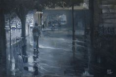Rain on North Terrace original painting by by MikeBarrpaintings, $295.00