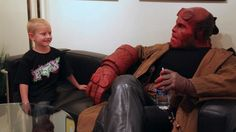 Ron Pearlman puts on the Hellboy makeup to meet with a young boy for the Make-A-Wish foundation.  Ron Pearlman is just the best dude.