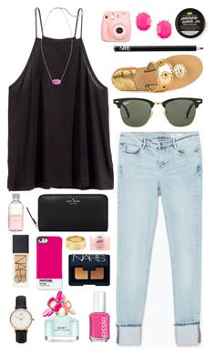 """catastrophe cosmetic"" by okieprep ❤ liked on Polyvore featuring H&M, Zara, Marc Jacobs, Pantone Universe, Essie, Kendra Scott, Jack Rogers, Ray-Ban, Daniel Wellington and Cartier"