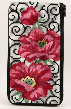 Eyeglass Case - Poppies On Scrolls - Needlepoint Kit: No finishing required with this Stitch & Zip Eyeglass preassembled case. Just unzip, needlepoint and zip up again. cotton canvas, cotton embroidery threads, needle and instructions. Finished size X Basic Embroidery Stitches, Baby Embroidery, Needlepoint Stitches, Needlepoint Kits, Beaded Embroidery, Cross Stitch Bird, Cross Stitch Flowers, Cross Stitch Designs, Cross Stitch Patterns