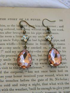 PECHE RHINESTONE EARRINGS assemblage jewelry crystals dangle