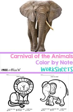 Love these Carnival of the Animals themed color by note worksheets! Easy printables for sub tubs, fun homework/classwork, or early finishers. They were a great addition to my CoA unit!