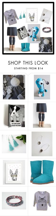 """""""Attention ! Chien Méchant !"""" by rosa-shawls ❤ liked on Polyvore featuring UGG, etsy and supportsmallshops"""