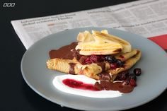 Buckwheat Crepes With Berry Compote & Raw Chocolate Sauce