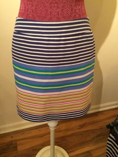 Ann Taylor Loft Petites Knee Lengh Striped Pencil Skirt Size 8 | eBay