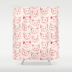 Red Cat Shower Curtain by Leah Reena Goren