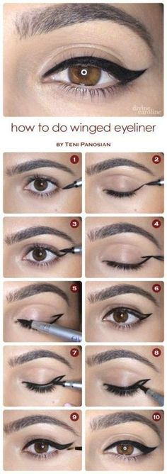 Step by step winged eyeliner tutorial. Great with your eyeshadow and your whole eye makeup look. Use a brush, wand or pencil. Beauty tutorial.
